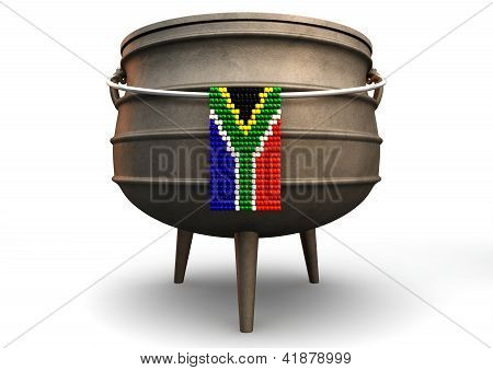 Potjie Pot With Zulu Bead South African Flag