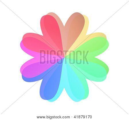 Corazón de flor multicolor