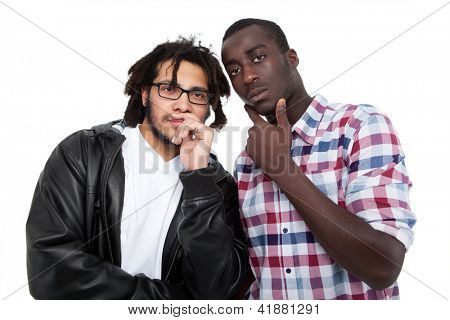 Two Male Friends Gossiping Over White Background