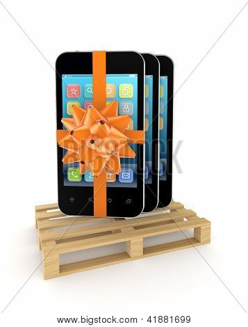 Mobile phones on a pallet.