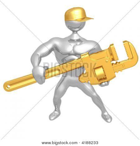 Mecánico con llave gigante
