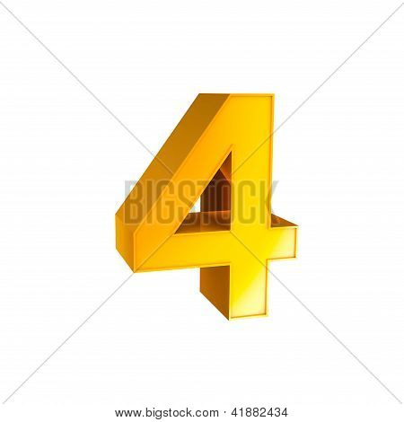 Gold Alphabet Number Character Four 4