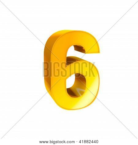 Gold Alphabet Number Character Six 6