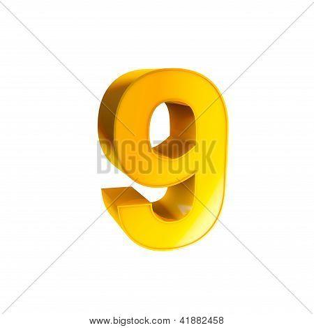 Gold Alphabet Number Character Nine 9