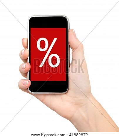 Female Hand Holding A Phone With Sale On A Red Screen