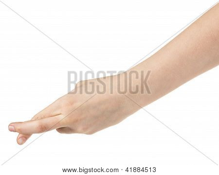 Female Teen Hand With Crossed Fingers
