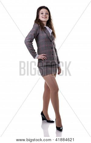 Confident Businesswoman Full Length Isolted On White