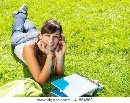 Teen Student Talking By Phone