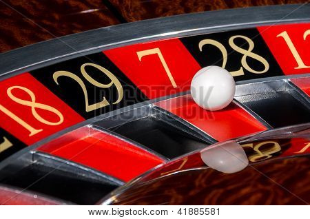 Classic Casino Roulette Wheel With Red Sector Seven 7