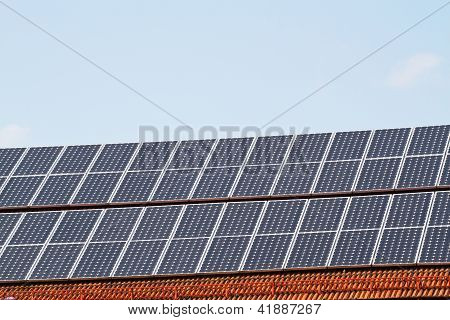 Solar Cells on a brick roof