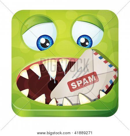 Monstro bonito - comedor de Spam. ícone de estilo do iOS