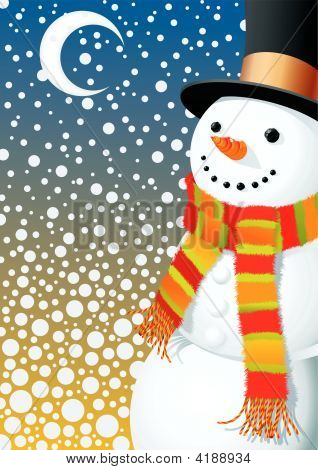 Snowman In Snowing Hight
