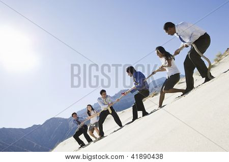 Low angle view of multi ethnic business people playing tug of war in desert