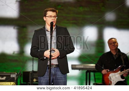 MOSCOW - JAN 23: Resident of Comedy Club Garik Bulldog Kharlamov performs at Taganka Theater during Award ceremony of Prize named after Vladimir Vysotsky Own Track, Jan 23, 2012, Moscow, Russia.