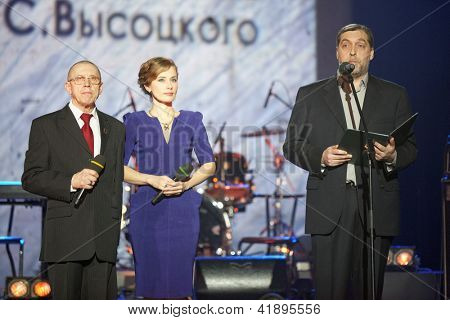 MOSCOW - JAN 23: Artistic director of Taganka Theater Valery Zolotukhin, Irina Lindt and Nikita Vysotsky during award ceremony Own Track, Jan 23, 2012, Moscow, Russia.