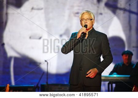 MOSCOW - JAN 23: Singer Alexander Marshall performs on stage at Taganka Theater during Award ceremony of Prize named after Vladimir Vysotsky Own Track, Jan 23, 2012, Moscow, Russia.