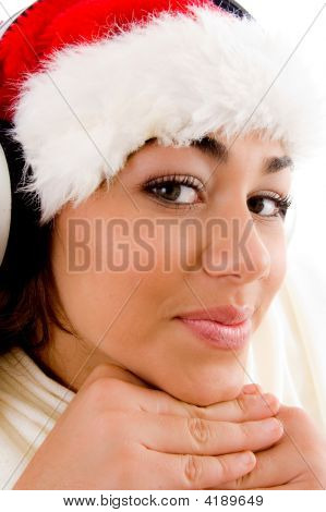 Smiling Female Wearing Red Christmas Hat