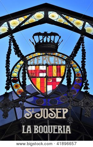 BARCELONA, SPAIN - JANUARY 25: Emblem at the entrance of Sant Josep de la Boqueria Market on January 25, 2013 in Barcelona. This market is one of the most visited tourist attractions in Barcelona