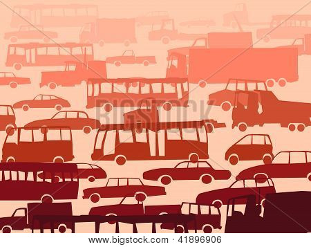 Abstract Cartoon Background With Many Cars.