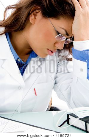 Close View Of Young Medical Professional In Tension