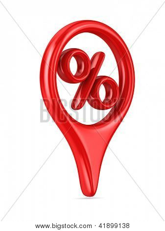percent on white background. Isolated 3D image