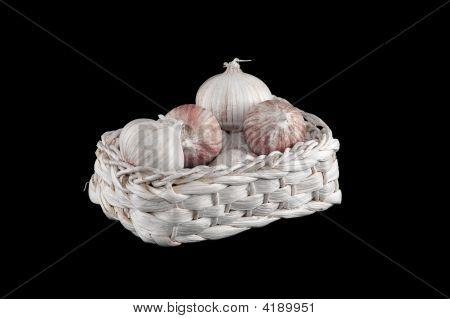 Some Fresh Garlic In Athe Basket