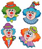 picture of circus clown  - Clowns head collection on white background  - JPG