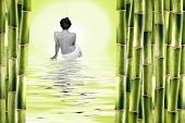 pic of nacked  - Nude woman surrounded by bamboo shoots and water with reflexion - JPG