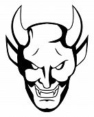 pic of demon  - isolated White demon face  - JPG