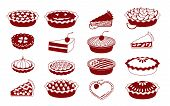 picture of cherry pie  - A set of vector icons for baking  - JPG