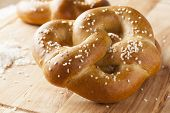 image of pretzels  - Homemade Warm Soft Pretzel with salt on top