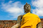 image of scruple  - Stone Ancient Buddha statue of Thailand Temple - JPG
