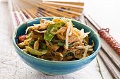 stock photo of glass noodles  - stir fried noodles with vegetables - JPG