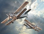 stock photo of fighter plane  - Attacking fighters - JPG