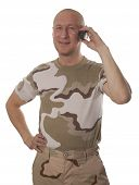 pic of conscript  - Soldiers calling on mobile phone on a white background - JPG