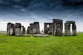stock photo of stonehenge  - Storm approaches Stonehenge on the Salisbury plain in Wiltshire England - JPG