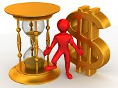 stock photo of hourglass figure  - Man with hourglass and dollar - JPG