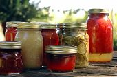 image of household farm  - homemade preserves sitting on a rustic table outside - JPG