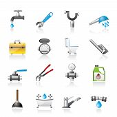 stock photo of stopcock  - realistic plumbing objects and tools icons  - JPG