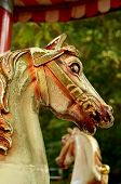 stock photo of merry-go-round  - Grungy Horses On An Ancient Merry - JPG
