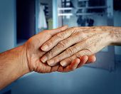 image of retirement age  - Elderly care and senior health services with the hand of a young person holding and helping an old and aging retired patient needing in home medical help due to aging and memory loss in a hospital background - JPG