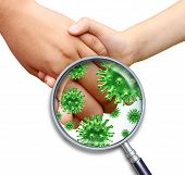 image of germs  - Contagious virus infection with children hands holding and touching spreading dangerous infectious germs and bacteria with a magnifying glass close up on a white background - JPG