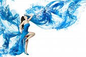 image of dancing  - Woman dance in blue water dress dissolving in splash - JPG