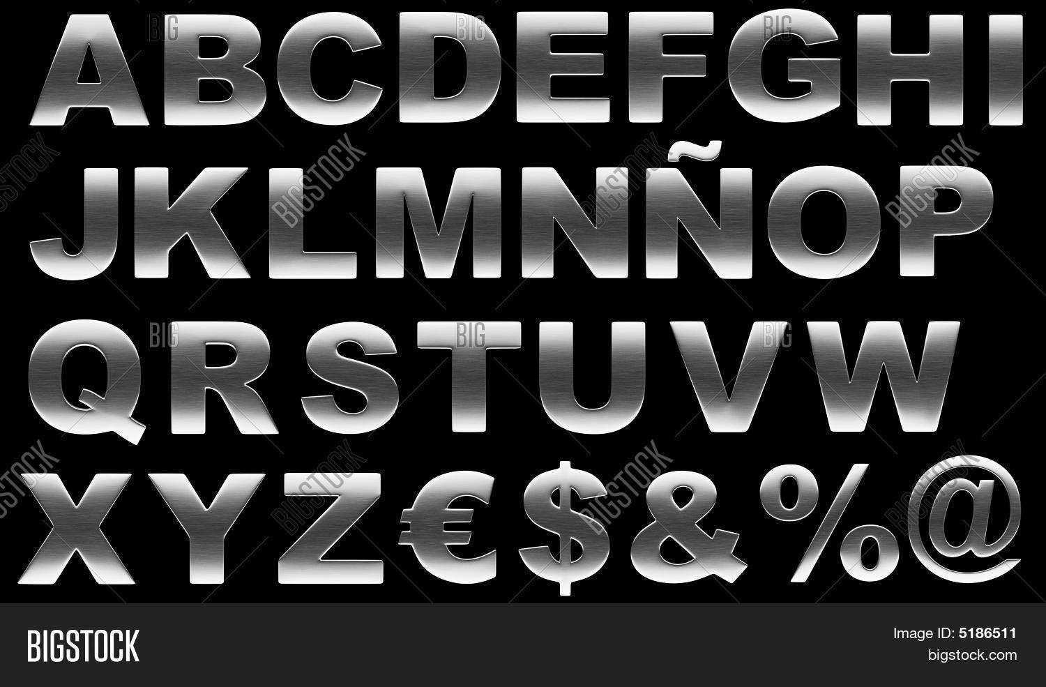 alphabet brushed metal letters isolated on black
