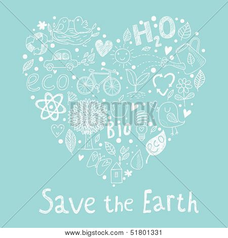 Save the earth. Ecology concept card in cartoon style. Romantic concept background made of bicycle, apple, atom, leafs, flowers and other bio symbols in vector
