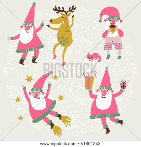 4 funny Santa Claus and Deer in vector set. Dancing Santa and his friend Deer, Santa drinking hot tea with his cat, Santa with gifts and Santa flying in the stars. Cute Childish holiday characters