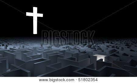 Cross and maze