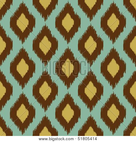 Modern tribal ikat blue yellow modern seamless pattern