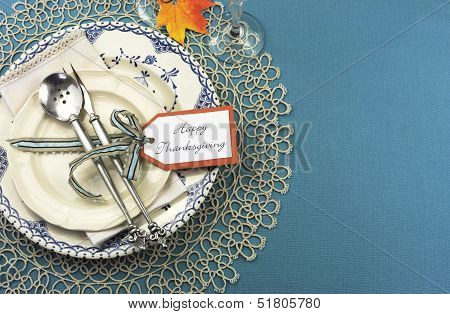 Beautiful Vintage Thanksgiving Dinner Table Place Setting With Vintage Shabby Chic Blue Plate And An