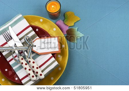 Bright, Modern Happy Thanksgiving Dining Table Setting In Red, Yellow And Aqua Blue Colors With Polk